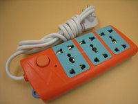 Orange and blue color 250V Extension spike guards with fuse and surge protection
