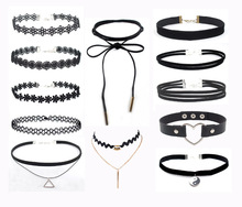 Factory Wholesale Price Black Chokers Necklace Sets Gothic Women Chocker Fabric Handmade Jewelries