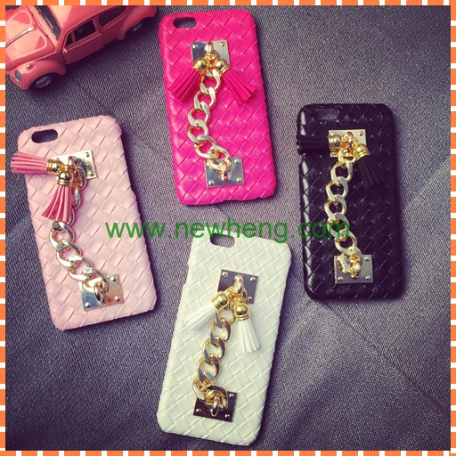 Chain hand holder tassel pendant Tpu mirror case cover for iphone 6 6s 6 plus