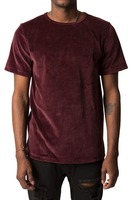 China Wholesale Men's Clothing Wine Velour Split Hem Tee shirt for man