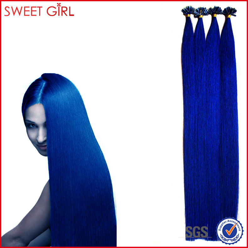 Blue hair in 28 inches Italian keratin U-tip bond