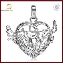 CYLZ 925 Sterling Silver Light Heart Cage With Small Wings Mexican Bola Chime Ball