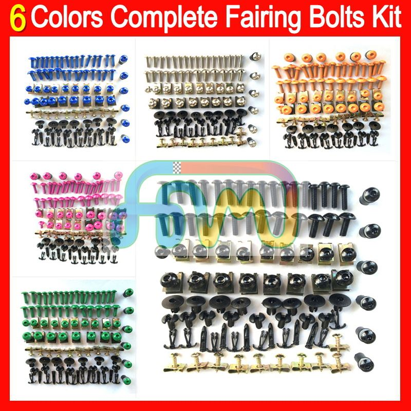 6 Colors Fairing bolts full screw kit For HONDA KAWASAKI SUZUKI YAMAHA DUCATI BMW TRIUMPH Agusta Aprilia Nuts Black bolt screws