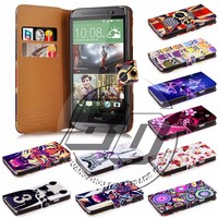 new products for htc one m8 case, wallet stand printed pu leather flip case for htc one m8