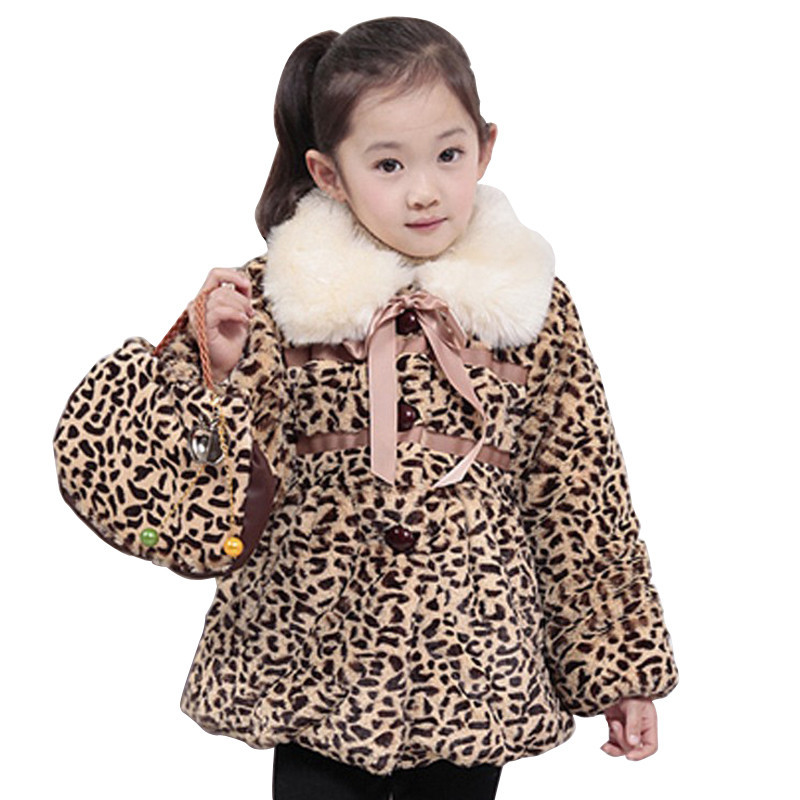 2015 Winter/Autumn Fashion Korean Style Kids Clothes Faux Fur Girls Coat Turn-Down Collar Animal Leopard Age 2-5 Size 6,8,10,12