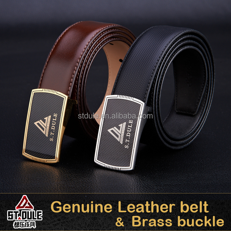 Genuine cowhide leather men fashion belts 34mm with copper brass black carbon fiber sheet buckle high quality