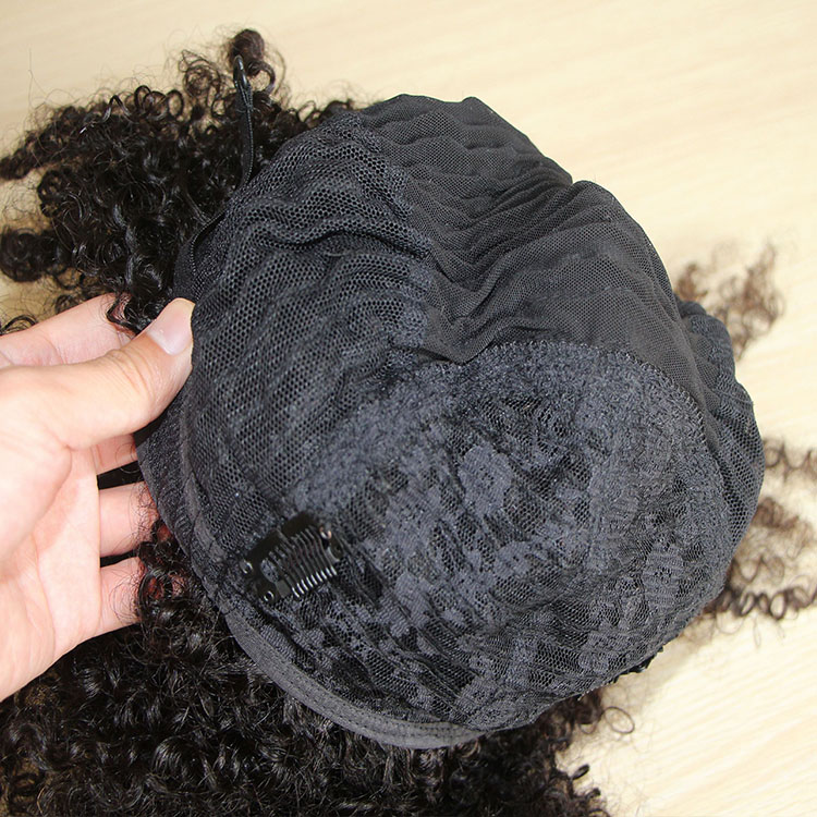 Wholesale 100% Brazilian virgin Human Hair 4c afro high puff Kinky Curly wig