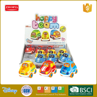 Hot sale 3 kinds Vehicles plastic ABS Cute mini cartoon friction taxi car train bus toys (12 PC)