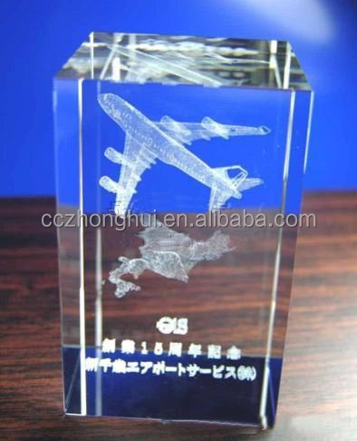 2017Hot new innotative 3d laser engraved cystal airplane crystal cube