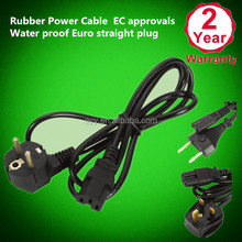 Rubber Power Cable EC approvals Water proof Euro staight plug