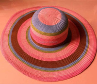 colorful paper straw wide brim floppy beach hats