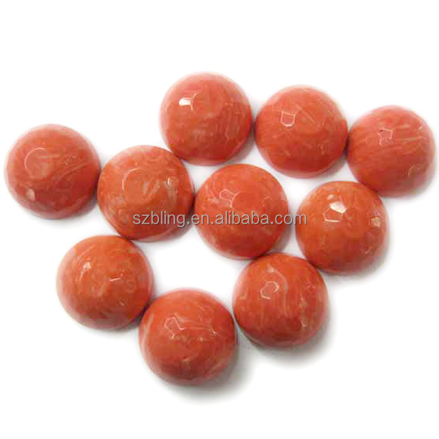 Wholesale synthetic mix color coral faceted round cab