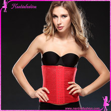 Latest design red lace steel bones slimming waist trainer training corset