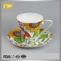 Ceramic printing sunflowers decals coffee cup, tea cup, cup and saucer
