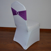 Purple spandex chair sash and chair cover for weddings