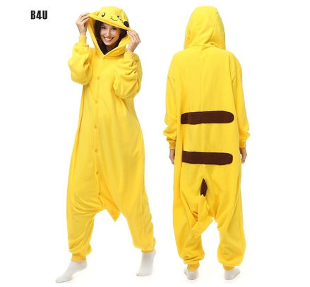 Flannel Pajamas Cute Korean Pajama Men Women Onesie Sleepwear Stitch Pikachu Yellow pigiama animals Plus Size