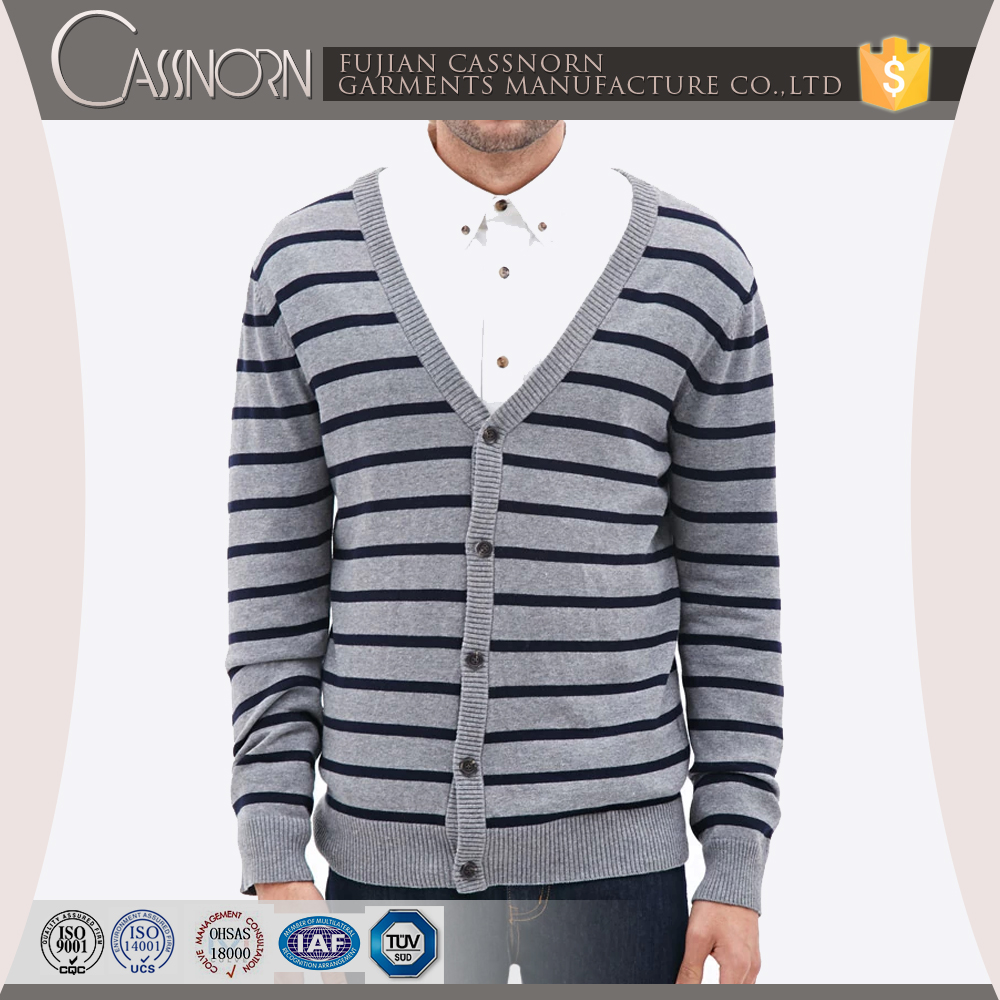 V-neck long-sleeve knitted Cotton material knitted cardigan mens sweater design