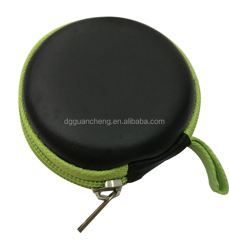GC-Cute size Round shape EVA Order PU velvet lining EVA earphone hard bag