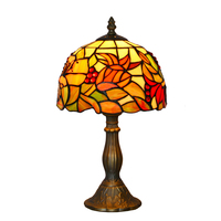 8 inch stained glass table lamp decorative tiffany table light indoor lighting fixture antique bronze finish incandescent lamp