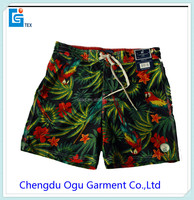 100% microfiber twill peached pa coating polyester board men beachwear swim shorts