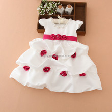 2015 Cap sleeves beaded crystal neck round ball party dress cocktail baby girl flower dress new design fashion baby dresses