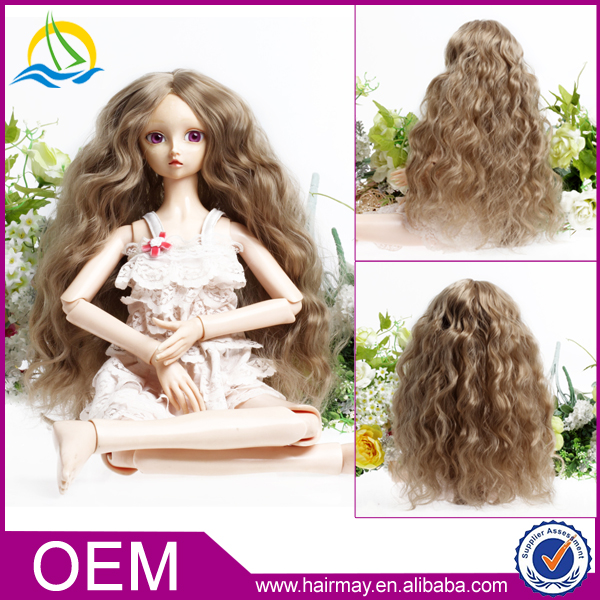 China wig factory long cheap curly blonde baby doll bjd wigs