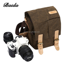 Vintage Waterproof Canvas Leather Trim DSLR SLR Shockproof Camera Shoulder Messenger Bag