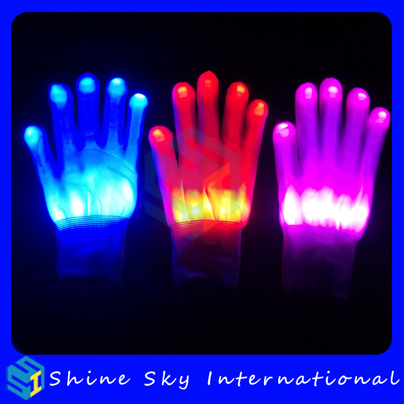 Halloween costume led finger glove,glowing gloves Xmas ladies party gloves