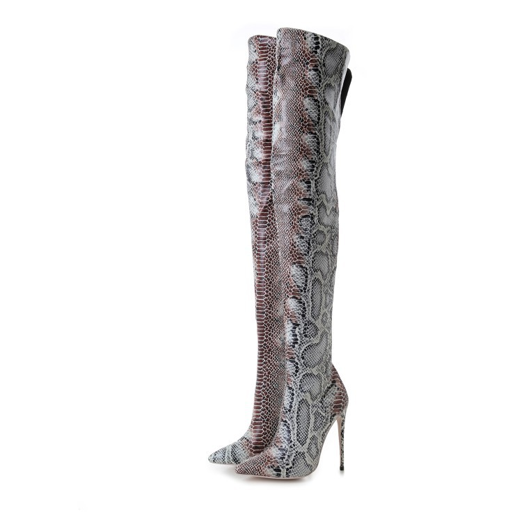Snakeskin Thigh High <strong>Boots</strong> Women Italian Winter <strong>Boots</strong> Ladies Female Killer Heel <strong>Boots</strong>