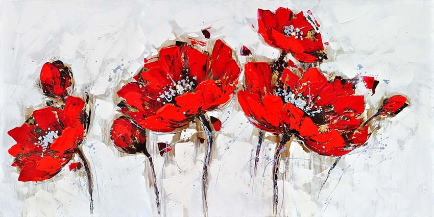 50% Handmade Home Decor Beautiful Red Flower Canvas Oil Painting