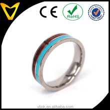 Hot New Rings Jewelry Design For Men, Titanium Turquoise Hawaiian Koa Wood Ring Wedding Engagement Band for Men Women Couples