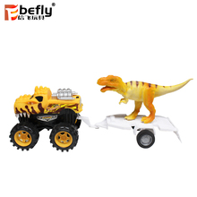 With light friction dinosaur trailer car toy with dinosaur