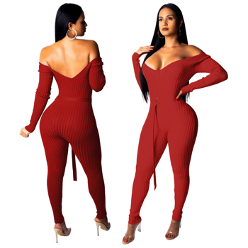 Red evening off the shoulder jumpsuits for women with sleeves