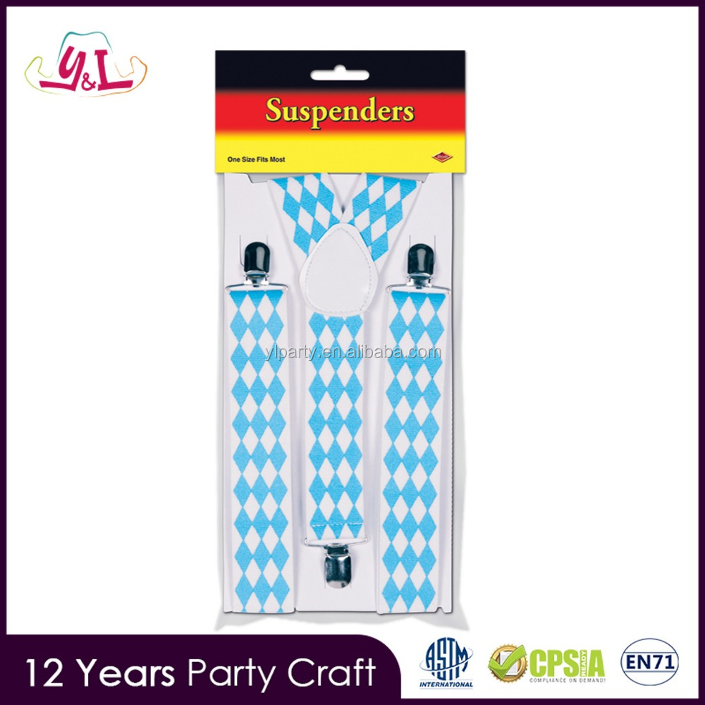New Premium 2017 Bavarian Flag Oktoberfest Party Suspenders Oktoberfest Decorations