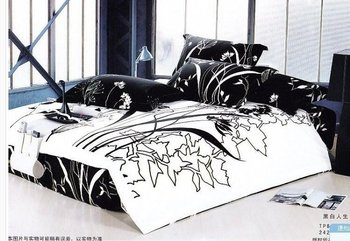 black white leaf design queen bed quilt duvet cover sets 4 pcs