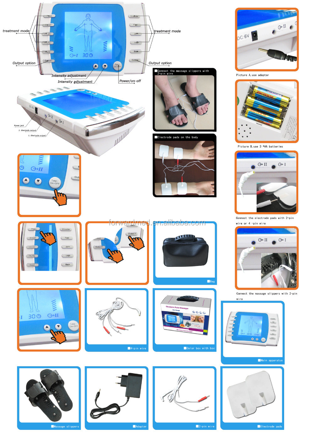portable electro acupuncture device with tens electrodes