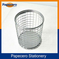 New Office Stationery for Desk Organizer use Round Wire Mesh Metal Pencil Holder/Pen Cup