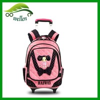 Wholesale children trolley backpack school bag with wheels