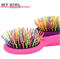 2016 My girl Manufacture Pocket Foldable Hair Brush With Mirror , Plastic Mirror