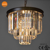 1920S odeon clear glass fringe 3-tier chandelier light fixtures in china
