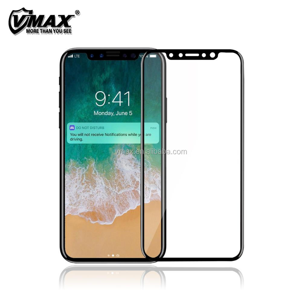 High transparant 0.33mm ultra thin anti blue light anti scratch 9h hardness tempered glass screen protector for iPhone X
