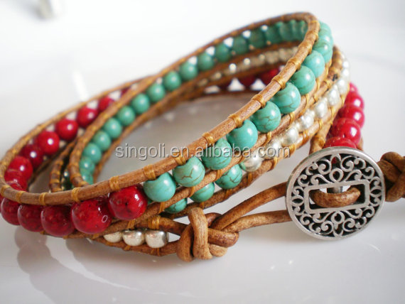 Southwest Leather Wrap Red Riverstone Turquoise Magnesite bracelet