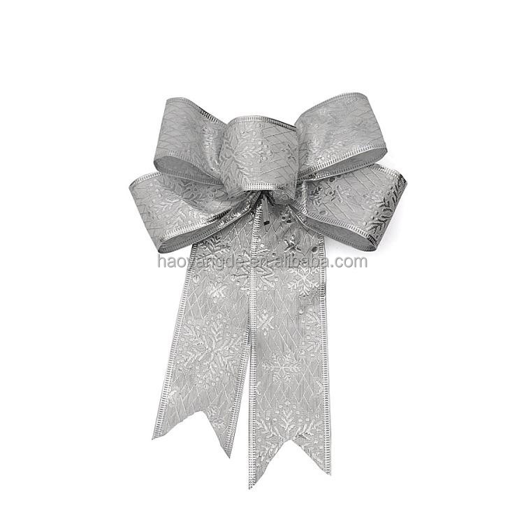 Christmas Decoration Silver Bowknot Xmas Ribbon