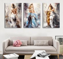 Modern abstract fabric nude sexy women in blue wall art painting designs