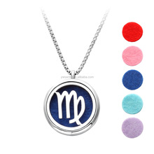 2016 Hot sale custom assorted colors 316L stainless steel zodiac signs essential oil diffuser necklace pendant