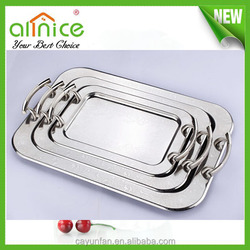 3pcs decorative stainless steel serving rectangular tray with handle