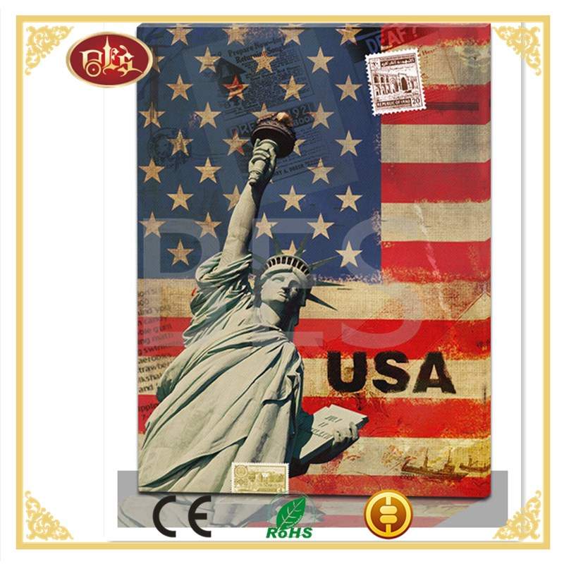 Wholesale modern American flag decoration painting on canvas, lighted painting.