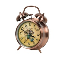 Various size high quality antique metal table clock with twins bell