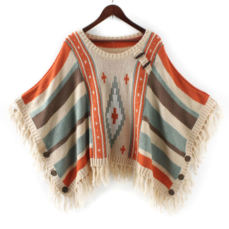 b5e3bfcaba Get Quotations · Womens Capes And Ponchoes Pull Femme 2015 Poncho Knitted  Oversized Sweaters autumn winter christmas sweater Sueter