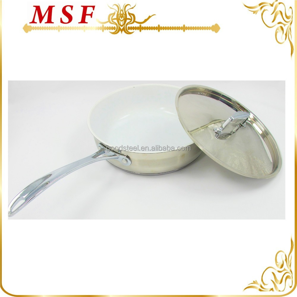 zinc-alloy handles and ceramics coating stainless steel saute pan